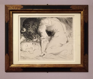 Minotaur Kneeling Over Sleeping Girl, 1933, Drypoint